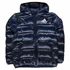 adidas Kids Boys Padded Jacket Junior Coat Top Hooded Zip Full Warm