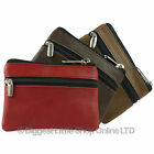 NEW Ladies Mens Zipped Soft LEATHER COIN PURSE Key Chain by OakRidge 4 Colours