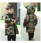 Boys long cotton-padded coat thick warm hooded camo kids child down jacket 1-7 Y
