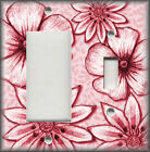 Metal Light Switch Plate Cover - Big Flowers Leaves Floral Decor Red