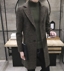 Mens Fashion Long Trench Coat Wool Blend Single Breasted Two Buttons Overcoat I2