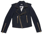 SALE! NEW BRIGITTE BARDOT 'REINE' RETRO 70S MOD BIKER JACKET IN NAVY S6