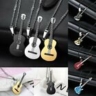 Charm Punk Men's Unisex Stainless Steel Guitar Leather Pendant Necklace Jewelry