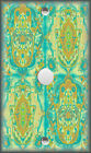 Metal Light Switch Plate Cover - Hamsa Hand Tiles Decor Blue Gold Green
