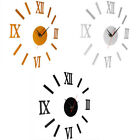 DIY 3D Wall Clock Mirror Sticker Metal Watches Roman Numeral Home Decor Exotic