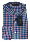 $125 Polo Ralph Lauren Mens Blue Plaid Button Down Button Cuff Dress Shirt M L