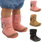 GIRLS FAUX FUR LINED WINTER BOOTS INFANTS BUCKLE CUTE KIDS ANKLE WARM SHOES SIZE