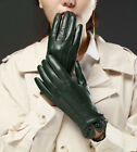 women three lines with wrist button real Italy leather gloves green beige black