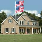 20/25 FT Sectional Aluminum Flagpole US American 3x5 Flag Pole Gold Ball Kit New