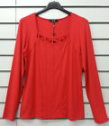 YEST AMOUR LONG SLEEVED COTTON STRETCH TOP SCARLETORANGEY RED SQUARE NECK BNWT
