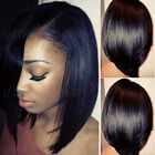 Pre Plucked Lace Front Wig Soft Bob Straight Malaysian Real Human Hair Wig GF79