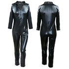 Black Mens Patent leather Wet look Full Body Suit Catsuit Underwear Costume