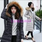 Womens Long Down Coat Faux Fur Hooded New Winter Blouson Overcoat Thick Slim Fit