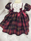 DREAM AW 2017 TRADITIONAL BURGUNDY TARTAN LINED DRESS 0 TO 3 YEARS REBORN DOLLS