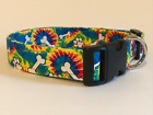 TIE-DYE AND PAWPRINTS PRINT DOG COLLAR (YOU PICK THE SIZE)