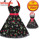 K436 Cherry Print 50's Rockabilly Swing Evening Pin Up Prom Retro Party Dress