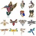 Fashion Animal Owl Dragonfly Bee Crystal Pearl Brooch Pin Women Costume Jewelry image