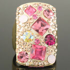 Full of Clean & Pink Crystal Oblong Ring R722