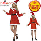 CA476 Ladies Miss Santa Christmas Xmas Fancy Dress Up Party Costume Outfit + Hat