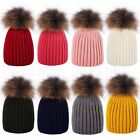Kids Baby Boys Girls Winter Knitted Beanie Ski Hat Faux Fur 15CM Bobble Pom Pom