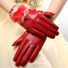 Business Driving Gloves Plus Velvet Rabbite Fur Ball Knit Lambskin Warm Gloves