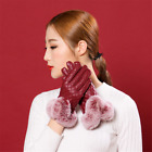Red Windproof Genuine Leather Winter Gloves Touchscreen Fashion Lattice Style