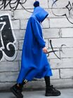 Winter hooded hair ball Blue simple fishtail dress plus velvet long