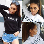 Ladies Girl Plain Tops Fashion Blouse Winter Pullover VOGUE Letter Printed