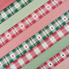 Alpine Christmas Fabric / quilting stocking homespun check stripe star red green
