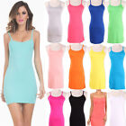 Stretchy!!!Summer Womens Spaghetti Strap Tank Tops Slip Mini Dress Camisole VEST