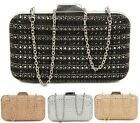LADIES WOMENS SMALL SHIMMER DIAMANTE SMALL HARDCASE PARTY FASHION CLUTCH BAG