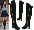 LADIES FAUX SUEDE OVER THE KNEE HIGH ZIP BLOCK HEEL LYCRA STRETCH SHOES BOOTS