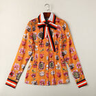 Women Lady Occident Fashion Print Floral Long Sleeve Blouse Shirt Autumn Fall