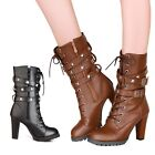 idomcats Womens Faux Leather Shoes Military Lace Up Riding Boots UK Size 1-12