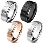 "Stainless Steel ""MOM"" or ""DAD"" Brushed Band Ring Black Silver or Rose Gold"