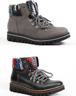 Italian Leather Design Aeros Womens Lace Up Knitted Ankle Boots Black Grey NEW