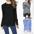 Lady Girls Jusfitsu Crew Neck High Low Split Loose Knit Pullover Sweater Fashion