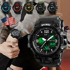 SKMEI Men Dual Time LED Military Date Chrono Waterproof Sport Quartz Wrist Watch image