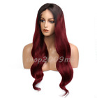 Ombre Brazilian Bleached Knots Body Wave Burgundy Lace front Wigs Pre Plucked