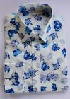 Ex M&S REGULAR FIT BLUE LEAVES SHIRT SUPIMA COTTON  14.5-18.5 B3