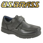 US Brass 'Ted' Boys Black Synthetic Leather Touch Fastening Boat Shoes Smart