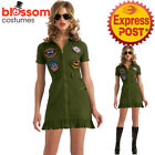 CA505 Deluxe Ladies Top Gun 1980s Army Dress Up Military Costume Aviator Pilot