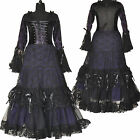 Long Gothic Corset Dress Victoria Halloween Punk Christmas Sexy Party Black