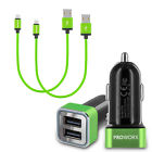 Fast Charging 4.8A Dual 2-Port Car Charger & 2X 1FT Micro USB Cable for Phones