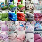 KIDS SINGLE DUVET COVER SET & FITTED SHEETS - UNICORNS FOOTBALL DINOSAUR & MORE