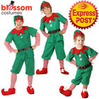 K477 Mens Adult Kid Christmas Xmas Deluxe Elf Costume Santa Helper Hat Stocking