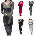Womens Glamour Winter Stretchy Bodycon Mid Calf Fitted Sweater Sexy Dress