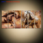 Large Wall Art 6 Panel Modern Horse Abstract Oil Painting on Canvas Framed Decor