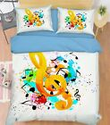 3D Music Notes 3 Bed Pillowcases Quilt Duvet Cover Set Single Queen King Size AU