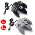 For Pc Mac Computer Games Classic N64 Usb Controller Wired Black Gray Clear Red